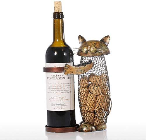 YPYGYB Soporte para Vino con Figuras De Bestias De Aleación Soporte para Vino con Gato Soporte para Vino Tinto Soporte para Vino De Pie Contenedor De Corcho Decoración del Hogar,Metallic