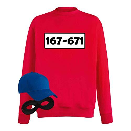 Sweatshirt Panzerknacker Kostüm-Set Wunschnummer Cap Maske Karneval Herren XS - 5XL Fasching JGA Party Sitzung, Größe:5XL, Logo & Set:Standard-Nr./Set klassik (167-761/Shirt+Cap+Maske)