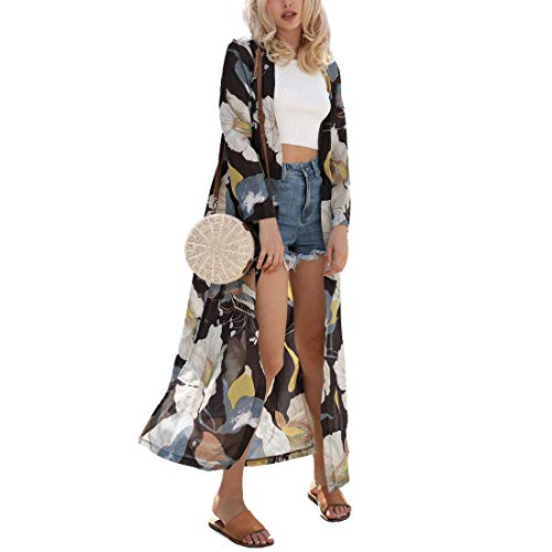 Vertvie Damen Chiffon Kimono Sommer Leicht Tuch Lange Cardigan Mit Blumen Muster Bikini Cover Up(M, Muster 2)