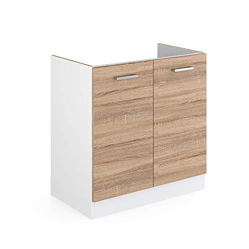 Vicco Küchenschrank R-Line Hängeschrank Unterschrank Küchenzeile Küchenunterschrank Arbeitsplatte, Möbel verfügbar in anthrazit und weiß (Sonoma ohne Arbeitsplatte, Spülenunterschrank 80 cm)