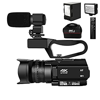 4K HD Auto Focus Video Camera 48MP 60FPS 30X Digital Zoom Camera for YouTube with LED Fill Light Camcorder 4500mAh Battery Remote Control Handheld Stabilizer and 64G SD Card