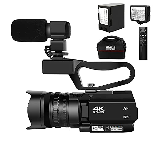 4K Ultra HD Auto Focus Video Camera 48MP 60FPS 30X Digital Zoom Camera for YouTube with LED Fill Light Camcorder 4500mAh Battery, Remote Control, Handheld Stabilizer, Microphone and 64G SD Card