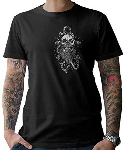 NG articlezz Camiseta Hombre Capitán Calavera Ancla Barba Calavera - con Frontal y Dibujo en la Espalda - Negro/Negro, XL