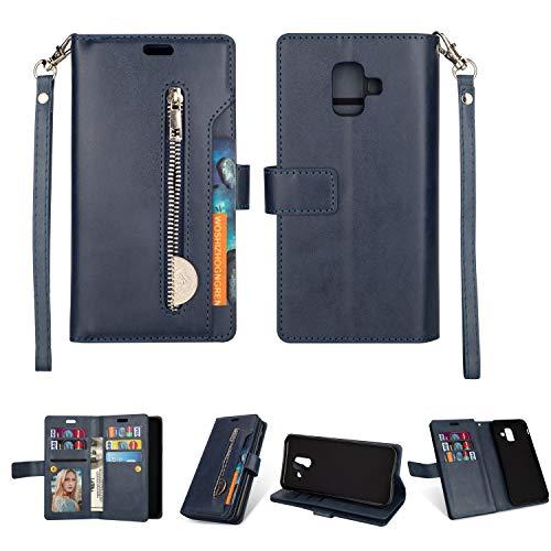 Artfeel Hülle für Samsung Galaxy A6 2018 Flip Brieftasche Hülle Blau mit 9 Kartenfächer,Premium Leder Magnetisch Stand Handyhülle mit Reißverschluss Tasche und Handschlaufe Schutzhülle