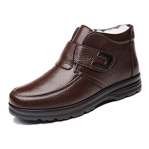 WENQU enkellaars voor mannen hoge top laarzen trekken op stijl haak & lus Decor letterlijke lederen fleece binnenzijde anti-slip vegan platte warmte
