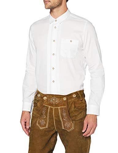 Stockerpoint Herren Mika2 Trachtenhemd, Weiß (Weiß), Small