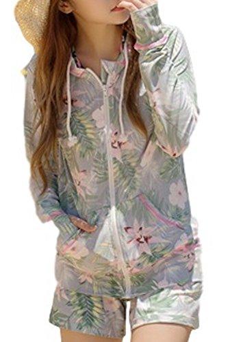 (Willing) ラッシュガード レディース 上下 セット パーカー ボタニカル柄 長袖 パンツ フード付き 体型カバー 大きいサイズ UVカット 水着 花柄 ネイビー S