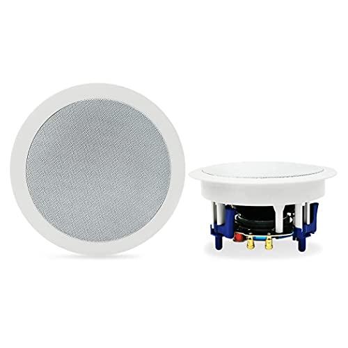 Herdio Altavoces de Techo Bluetooth Redondos de 5,25'Sonido estéreo de Rango Completo de Montaje Empotrado de 2 vías (un par)
