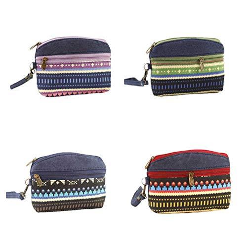 Bigoba - Lot de 5 mini sacs porte-monnaie en toile pour femme, rangement pour clés, écouteurs, rouge à lèvres, papier Set-23