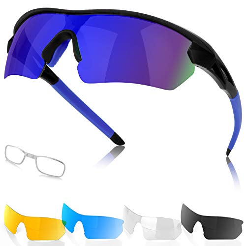 Gafas de Sol Deportivas Polarizadas para Hombre y Mujer, 5 Lentes Intercambiables Protección UV Gafas de Sol para Correr, Ciclismo, Pescar, Golf, Tomar el Sol, Acampar, Ski, Conducción, Aire Libre