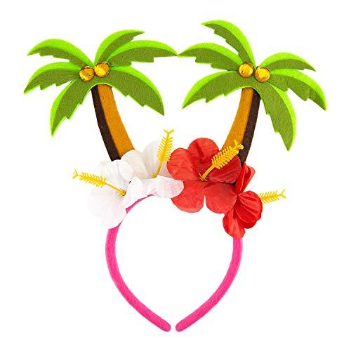 Oblique Unique® Haarreif mit Palmen und Blumen Blüten Tropischer Haarreifen Kostüm Accessoire für Hawaii Party Karneval Fasching Motto Beach Sommer Party