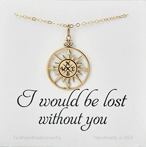 Gold compass necklace with custom message card,compass necklace,Friendship necklace,Graduation gift,best friend necklace,bridesmaid gifts