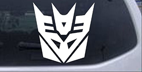 Rad Dezigns Transformers Decepticon Symbol Logo Sci Fi Car or Truck Window Laptop Decal Sticker - White 4in X 4in