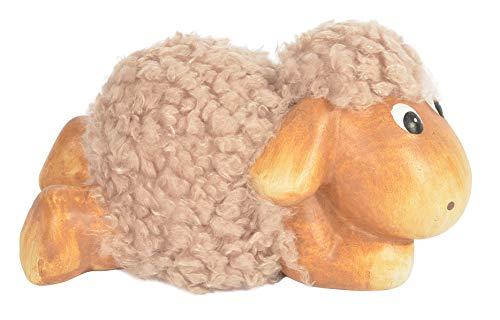 CHICCIE Dekofigur Schaf aus Wolle & Keramik Liegend Braun 12cm - Lamm Schäfchen Lämmchen