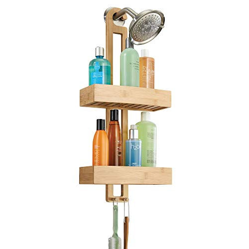iDesign Formbu Bamboo Hanging Shower Caddy for Shampoo, Conditioner, and Soap with Hooks for Razors, Towels, Loofahs, and More, 11.05