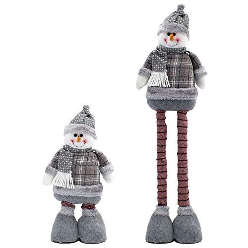 Carnavalife Muñeca Grande de Navidad, Figuras Papá Noel/Nieve de Peluche, Gnomo Elfo de Pie para Decoraciones Navideñas Altura Ajustable (FYQ-467-GRIS/62CM)