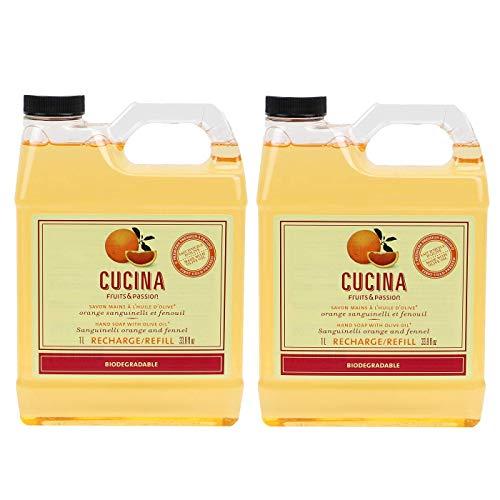Cucina Purifying Hand Wash Refill, 33.8 Oz Plastic Jug (2, Sanguinelli Orange and Fennel)