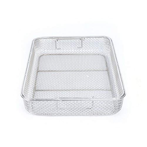XYOUNG Instrument Tray and Mesh Perforated Baskets Sterilization Tray,15.75''11.8''2.75'' Rectangle Stainless Steel Sterilization Basket for Instrument Tray Clean Basket