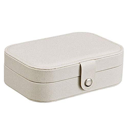 None Brand Boîte à Bijoux de Stockage Portable Organisateur Zipper Jewerly Stockage Femmes Portable Affichage boîte Case Voyage Organisateur (Couleur : White)