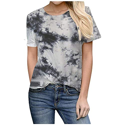 Fantastic Deal! Toimothcn Womens Tie-Dye Shirt Summer Casual Patchwork O-Neck Short Sleeve Tunic Tee...