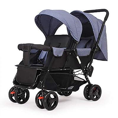 Qinmo Doble carretilla infantil, gemelo del bebé cochecito ligero plegable doble biplaza carro de bebé, arnés de cinco puntos, limpieza extraíble (Color : D)