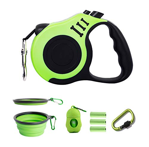 PETIMP Retractable Dog Leash Set 16ft with Dispenser Bowl for Small Medium Dogs(Green)