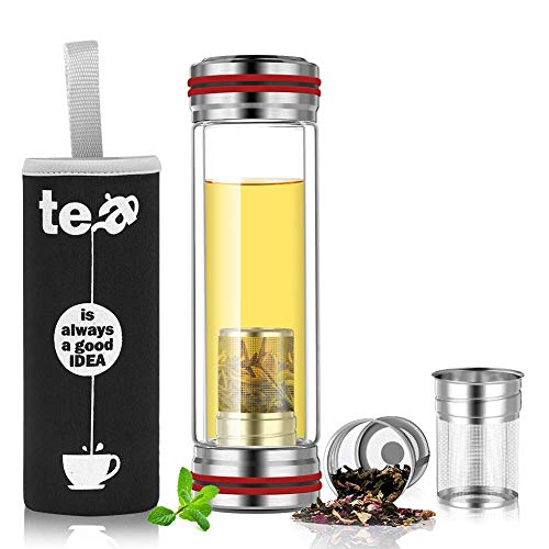 BINE 14oz Glass Tea Infuser Bottle Tumbler Strainer for Loose Leaf, Herbal, Green or Ice Tea Cold Brew Coffee Mug or Fruit Infusion Hot or Cold Water Travel Bottle Free Travel Sleeve Red
