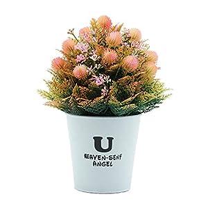 Faux Plants Artificial Flowers Iron Pot Bonsai Simulation Flower for Party Living Room Desktop Office Decor Pink