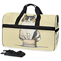 太ったかわいい猫の子猫スポーツスイムジムバッグシューズコンパートメントウィークエンダーダッフルトラベルバッグハンドバッグレディースガールズメンズ