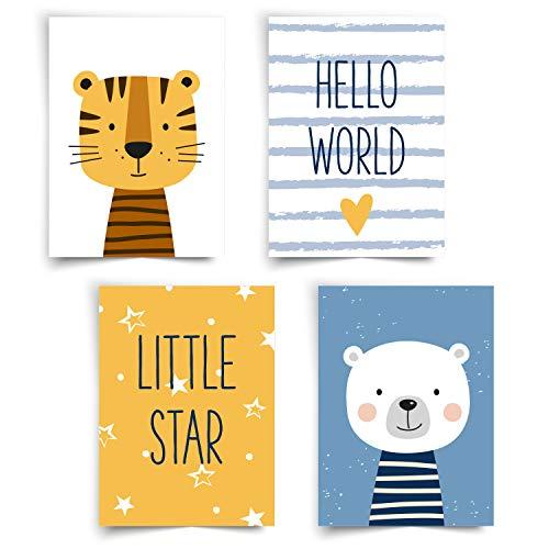 Donari ® - Liebevoll gestaltetes 4er Set Poster für Kinder in A4 - Poster für das Kinderzimmer - Kinderzimmer Deko Junge - Kreatives Geschenk zur Geburt - Babyparty Geschenk