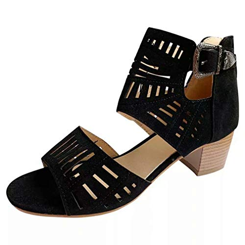 LLZIYAN Frauen Hohl High Heel Sandalen Mode Einfachen Einfarbigen Sandalen für Arbeitsreisen Party,Schwarz,35