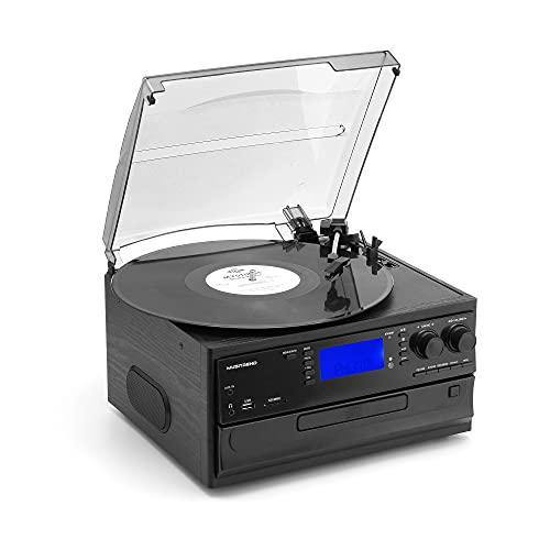 Tocadiscos de Vinilo, MUSITREND Tocadiscos Bluetooth Estéreo de 3 velocidades con Altavoces incorporados 33/45/78 RPM Apoyos Cassette/Radio/Vinilo a MP3 USB Codificación/Aux in