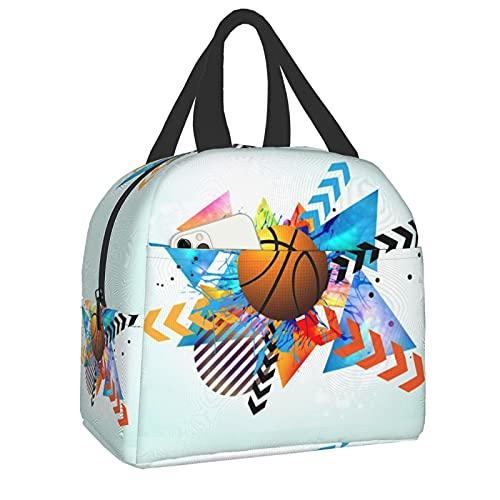 Bolsa de almuerzo para niños y adultos aislada lonchera con correa, baloncesto Kreisförmige Geometrische reutilizable tela de papel de aluminio Picnic lonchera organizador