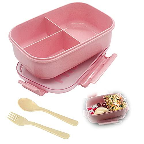 Lunch Bento Box,Fiambrera Infantil Compartimentos,Caja de Almuerzo de Plástico,Reutilizable,Caja de Bento con 3 Compartimentos para niños y Adultos, para la Escuela, el Trabajo, Picnic (Rosado)