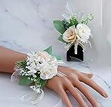 Gwhole 2 Pcs Bracelets de Mariage pour Mariée, Demoiselle d'honneur, Fleurs Artificielles Mariage Bouquet De Mariée Fleurs de Poignet Bracelet Corsage de Mariée Boutonnière Artificielle
