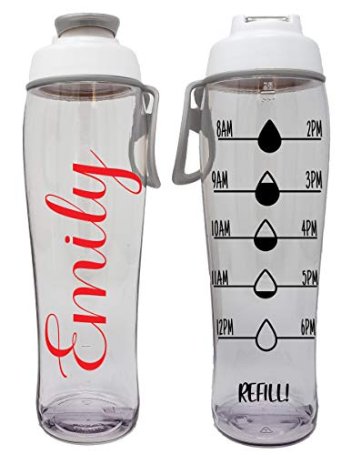 BPA Free Reusable Water Bottle with Time Marker - Motivational Fitness Bottles - Hours Marked - Drink More Water Daily - Tracker Helps You Drink Water All Day -Made in USA (Custom Name, 30 oz.)