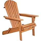 Adirondack Chair,Folding Wooden Lounger Chair,All-Weather Chair for Fire Pit/Garden/Fish with 250lbs Duty Rating,Natural