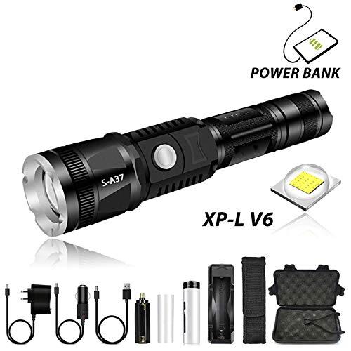 Lampe torche super lumineuse avec lampe XP L V6 étanche 5 modes d'éclairage zoom télescopique pour randonnée aventure, paquet F, V6