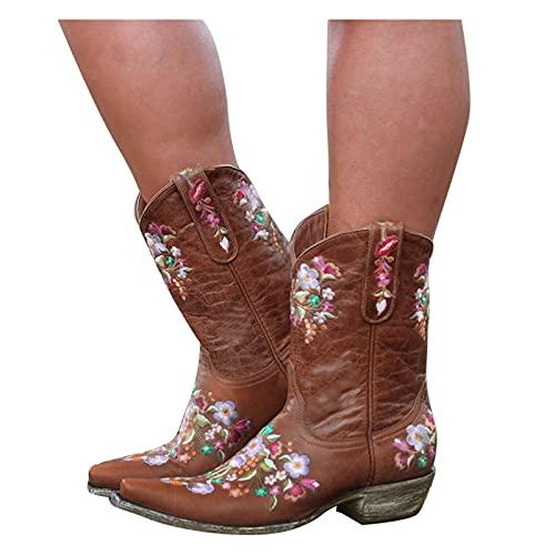 Binggong Botas de vaquero de media altura con flores bordadas, botas de equitación clásicas para mujer, botas de equitación, botas de motorista, botas de equitación, botines Chunkyrayan Western