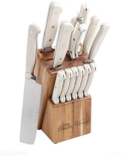 The Pioneer Woman Cowboy Rustic 14-Piece Linen Cutlery Set W/ Wood Block/WHITE