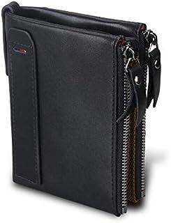 Crazy Horsehide Leather Wallet Men Purse With Double Zipper Short Wallet Money Clip black