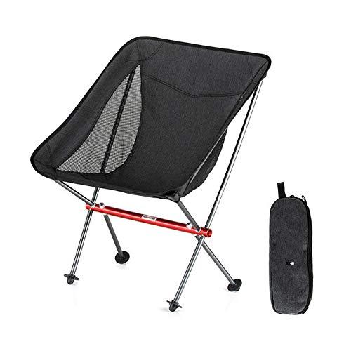 Taburete con Respaldo Plegable para Acampar Ultraligero portátil al Aire Libre Silla de Luna Plegable para Picnic de Pesca BBQ NH18Y060-Z - Negro S