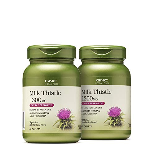 GNC Herbal Plus Milk Thistle 1300mg - Twin Pack, 60 Caplets per Bottle, Supports Healthy Liver Function