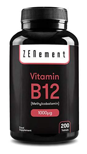 Vitamine B12 Methylcobalamin 1000 µg, 200 Tablets | Ondersteunt een gezond immuunsysteem en energie-systeem en de vorming van rode bloedcellen | Veganistisch | van Zenement