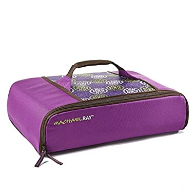 Rachael Ray Universal Thermal Carrier, Fits 9 X13  Baking Dishes, Insulated Casserole Carrier for Hot and Cold Transport, Purple Floral Medallion