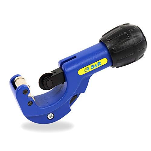 S&R Rohrschneider für 3-32 mm Aluminium-, Kupfer- und Kunststoff-Rohre, Rohrabschneider mit Entgrater und Ersatzklinge im Griff
