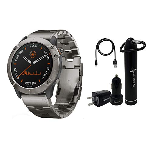 Garmin Fenix 6X Premium Multisport GPS Watches with Pulse OX, Routable Maps and Music with Included Wearable4U Power Pack Bundle (PRO Solar, Titanium with Vented Titanium Bracelet) 1