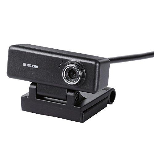 エレコム WEBカメラ マイク内蔵 200万画素 高精細ガラスレンズ イヤホン付 ブラック UCAM-C520FEBK