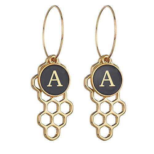 Gespout 26 pendientes del alfabeto inglés Frau Ohrringe Frauen Hypoallergene einfache Stil Ohrringe Ornament Zubeh?r Jubil?um und Geburtstagsgeschenke