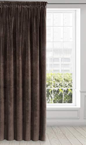 Eurofirany Villa Vorhang Samt Velvet Weich Kräuselband-1 Stk. Edel Gardine Dick 290 g/m2 Elegant Glatt Einfarbig Flauschig Modern Klassisch Wohnzimmer Schlafzimmer Lounge, Braun, 140X270cm
